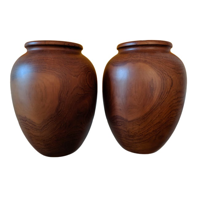 Oversize Turned Walnut Vessels, a Pair For Sale