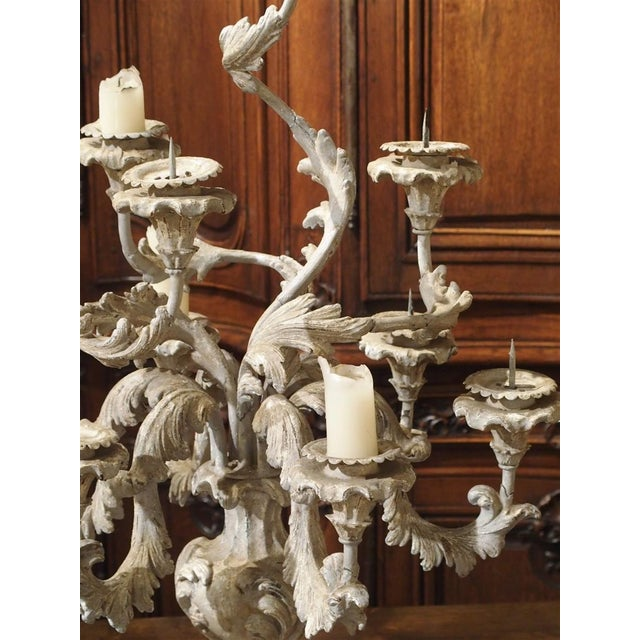 White French Blue Gray Painted Rococo Style Table Candelabra For Sale - Image 8 of 10