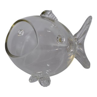 Vintage Handblown Glass Fish Candy Bowl For Sale
