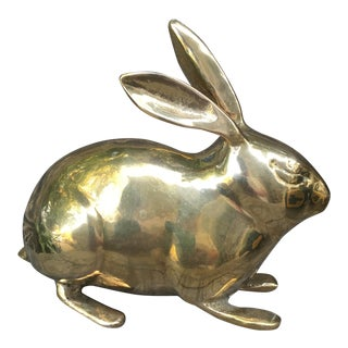 Vintage Mid-Century Solid Brass Rabbit Bunny