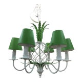 Image of Mid-Century Preppy Green and White Pineapple Chandelier