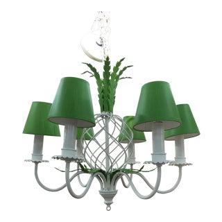 Mid-Century Preppy Green and White Pineapple Chandelier