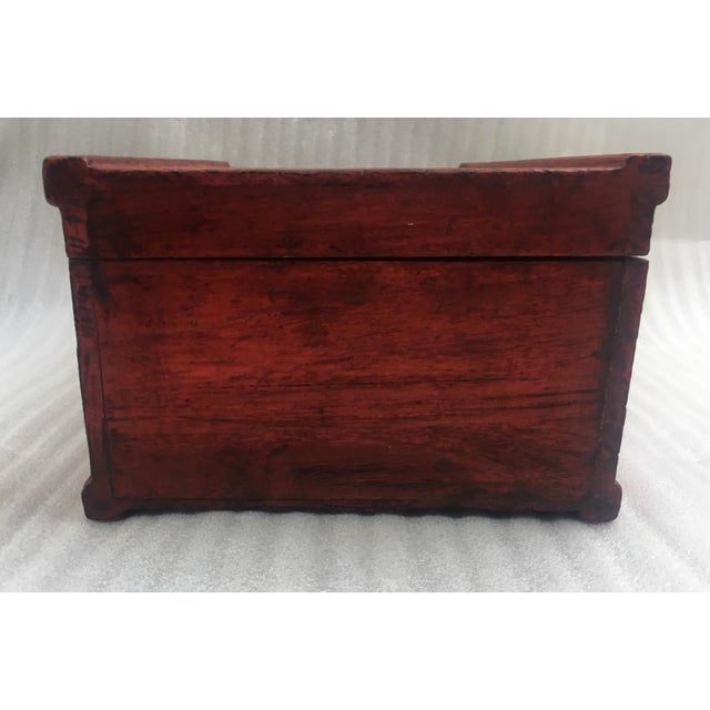 Antique Chinese Red Lacquer Box For Sale - Image 10 of 11