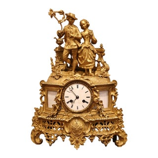 19th Century French Louis XV Gilt Bronze and White Marble Mantel Clock For Sale