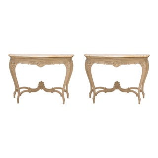 Pair of 19th Century Cream-Painted Beechwood Console with Siena Marble Tops