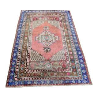 1960s Vintage Turkish Handmade Wool Rug - 3′8″ × 5′5″ For Sale