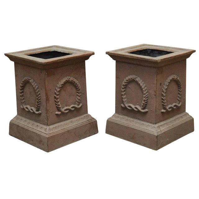 Neoclassical Cast Iron Pedestals or Urns - a Pair For Sale