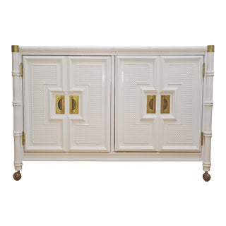 20th Century Stanley Faux Bamboo Lacquered Sideboard Buffet For Sale
