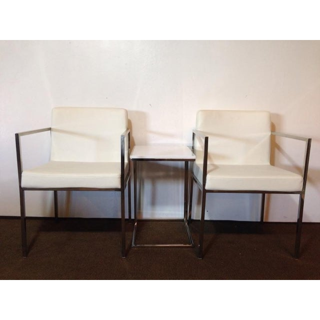 White Leather and Chrome Chairs and Table - S/3 - Image 2 of 6