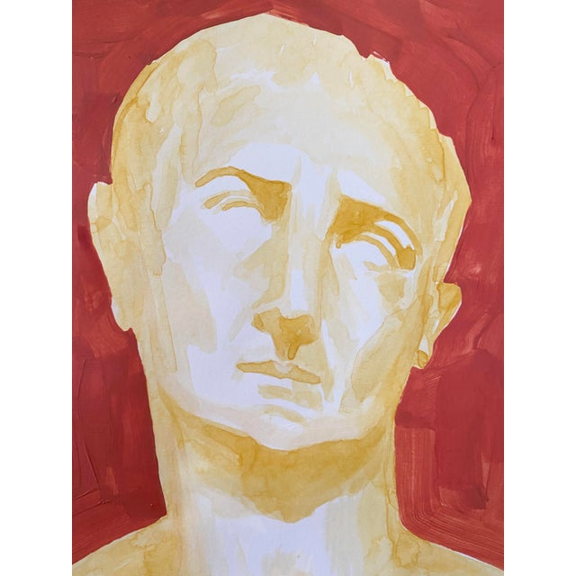 Roman Emperor Trajan Bust Painting, Acrylic on Paper For Sale - Image 4 of 8