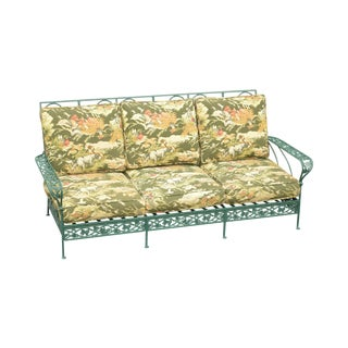 Salterini Green Restored Wrought Iron Patio Garden Sofa For Sale