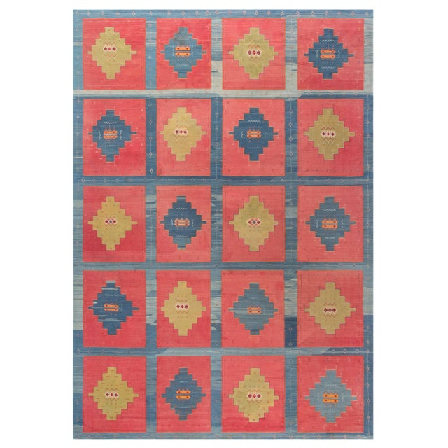 Blue, Pink and Sandy Beige Vintage Turkish Kilim Rug For Sale