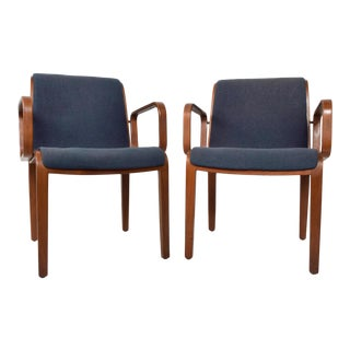 Mid-Century Knoll BentWood Arm Chairs by Bill Stephens - a Pair For Sale