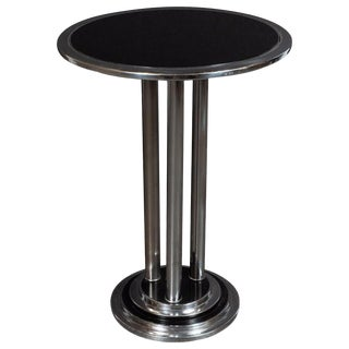 Streamlined Art Deco Machine Age Chrome, Black Enamel & Vitrolite Side Table For Sale