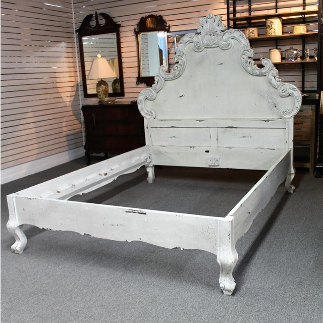 French Country French Country Distressed Queen Bed For Sale - Image 3 of 11