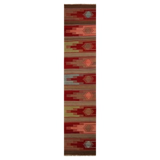 "1930's Vintage Sivas Red and Green Wool Kilim Runner-3'x13'8"" For Sale"