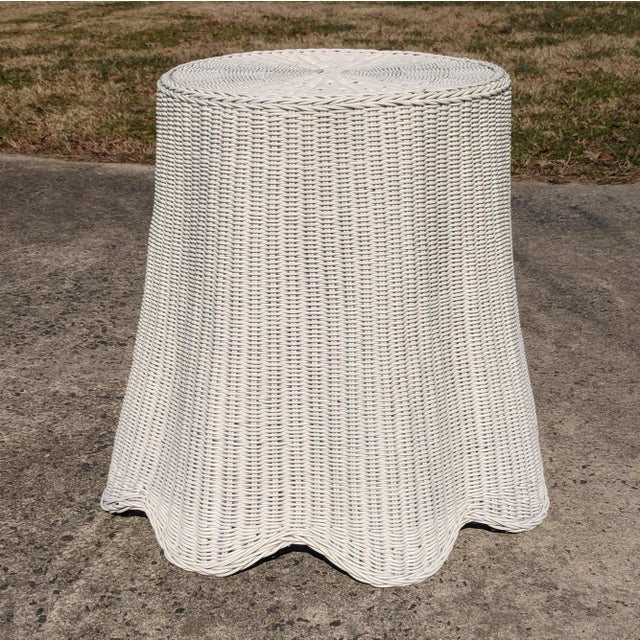 Trompe l'Oeil Draped White Wicker Rattan Ghost Table For Sale - Image 4 of 10