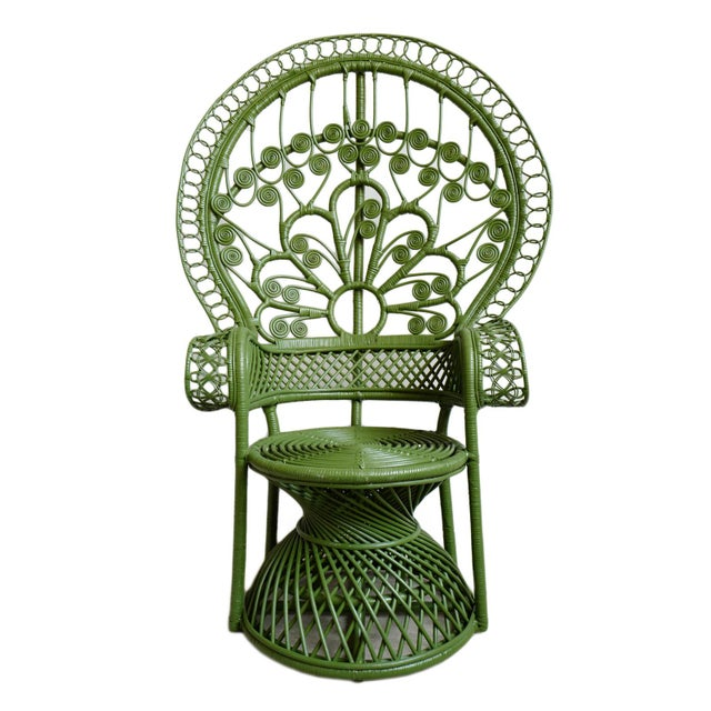 Green Green Moss Wicker Peacock Chair For Sale - Image 8 of 8