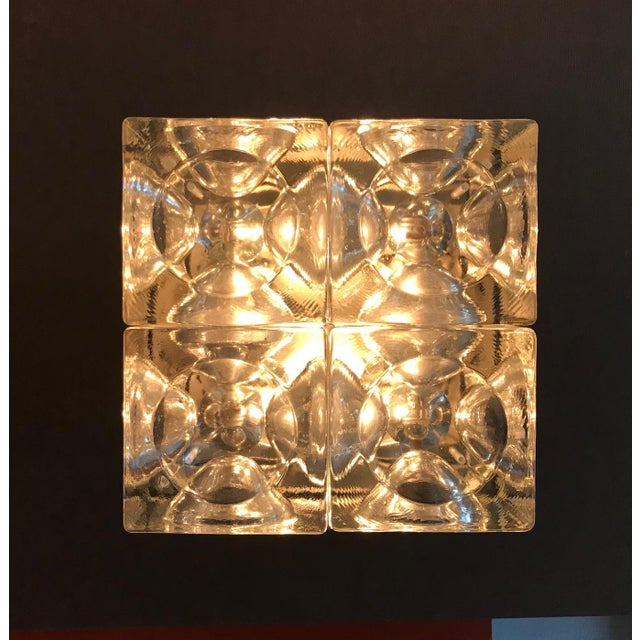 Italian Murano Glass Cube Sconces / Flush Mounts by Poliarte - a Pair For Sale - Image 10 of 11