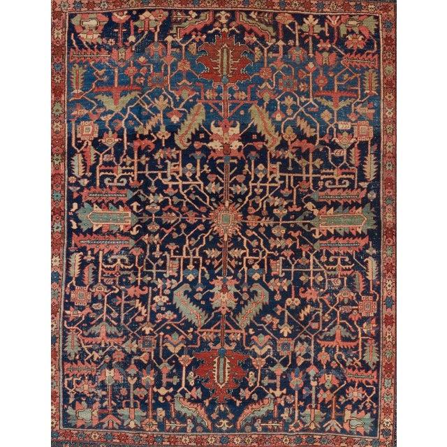Heriz Allover Design Blue Ground Carpet For Sale - Image 4 of 5