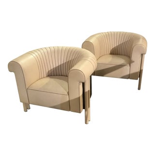 Modern Cream Leather Club Style Chairs - a Pair For Sale
