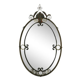 Antique Art Nouveau Floral Wrought Iron Frame Oval Wall Console Mirror For Sale