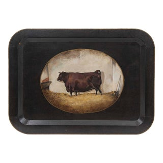 Vintage Brown Cow Tray For Sale