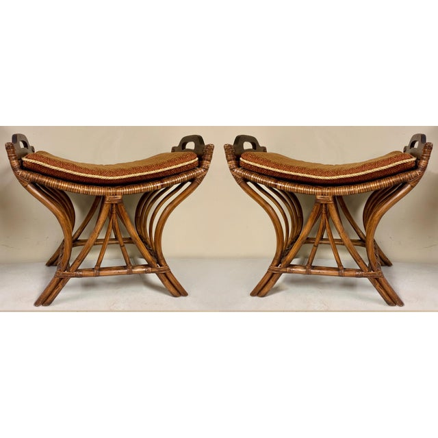 Prime Pair Of Rattan Palecek Stools Benches Theyellowbook Wood Chair Design Ideas Theyellowbookinfo