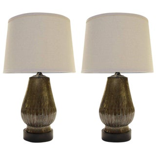 Tin Plated Copper Lamps with Etching - A Pair