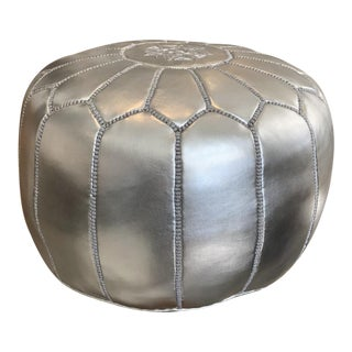 Silver Leather Moroccan Pouf For Sale