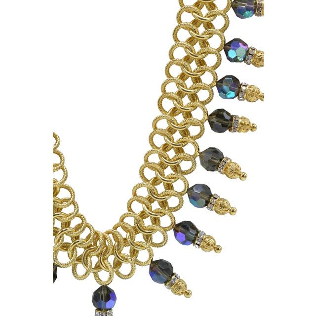 Italian Costume Runway Necklace in Gold and Blue by Justin Joy For Sale In Miami - Image 6 of 8