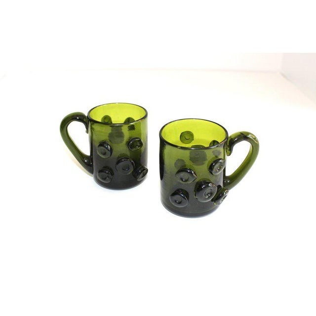 Set / 6 Mid Century Modern Glass Espresso Cups With Prunt Details For Sale In New York - Image 6 of 13