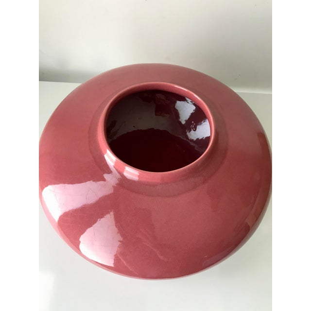 "Offered is a gorgeous rose color ceramic saucer shape vase. Some crazing. opening is 4 ¾"" inches diameter Works great as a..."