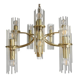 Mid-Century Gaetano Sciolari Brass and Glass Rod 20 Light Chandelier For Sale