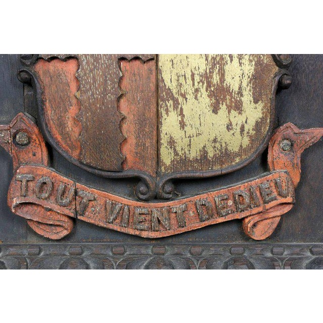Two European Carved and Painted Oak Coats of Arms For Sale - Image 4 of 9