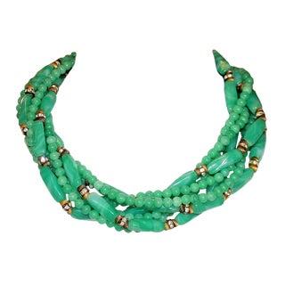 1960s William deLillo Green Glass Bead Necklace For Sale