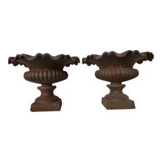 Antique French Ruffled Iron Urns- a Pair For Sale