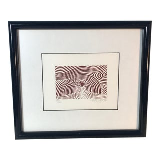 1982 Modernist Abstract Block Print Numbered 17/30, Signed, Framed For Sale