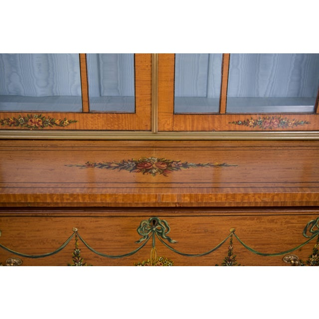 English Adams Style Painted Satinwood Secretary For Sale In West Palm - Image 6 of 10