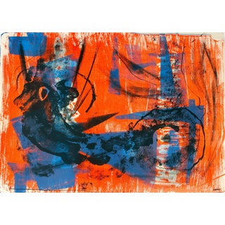Jerry Opper Abstract Expressionist Lithograph in Bright Blue and Orange, Circa 1950s Circa 1950s For Sale