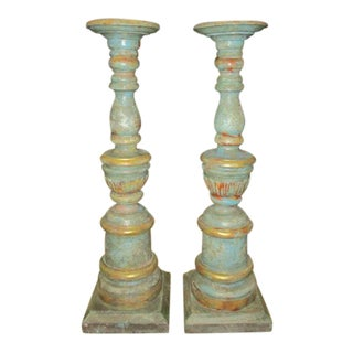 Candle Holders Antique Wooden Painted - a Pair