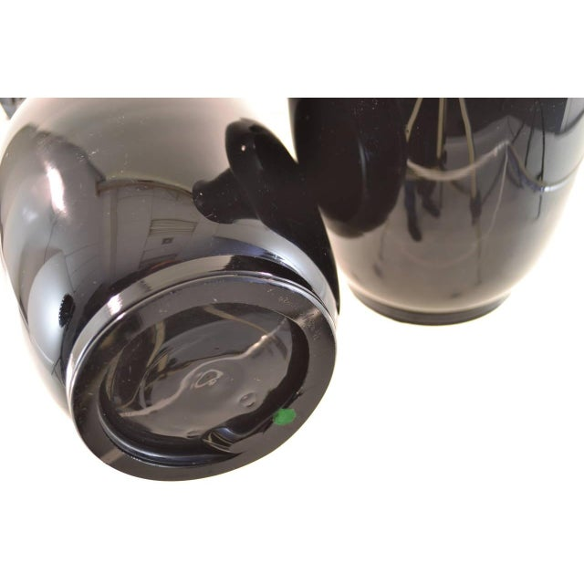 Pair of Venini Signed Black Glass Urns, 1978 For Sale In New York - Image 6 of 7
