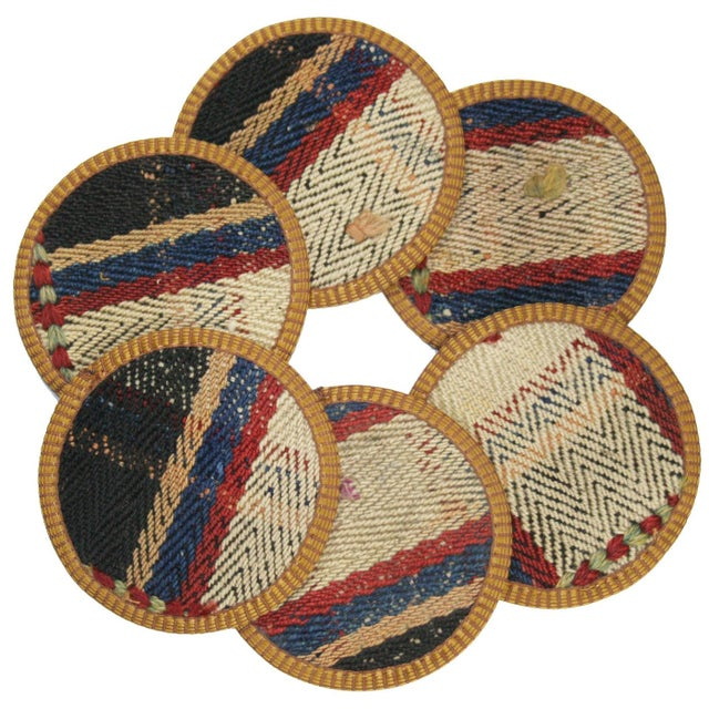 Rug & Relic Yolgeçen Kilim Coasters - Set of 6 For Sale
