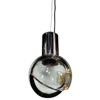 Seguso Grey Glass Globe Pendant Light For Sale