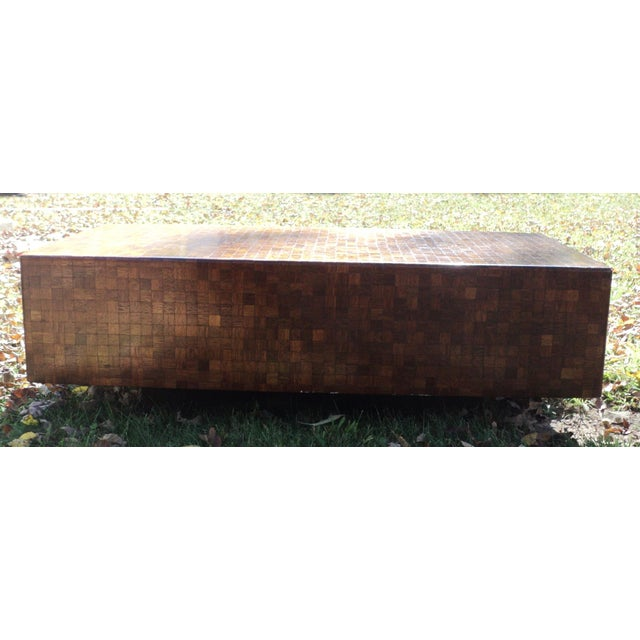 Mid-Century Modern Patchwork Wood Coffee Table - Image 9 of 11