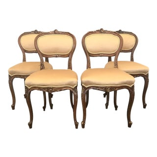 Vintage Louis XV Walnut French Dining Chairs - Set of 4 For Sale