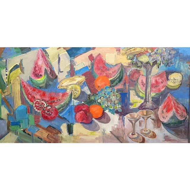 Amazing large scale oil painting on canvas depicting an abstract still life view of a table set with a variety of fruit,...