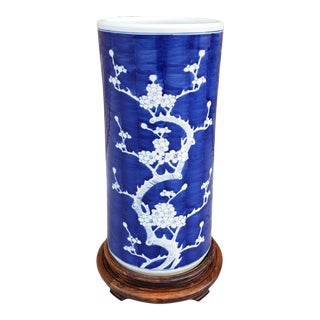 Vintage Blue and White Cherry Blossom Motif Porcelain Umbrella StandUmbre For Sale