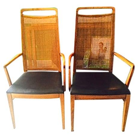Mid-Century Wood & Cane Armchairs - a Pair - Image 1 of 5