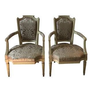 Late 19th Century Patinated French Chairs with Slip Covers - a Pair For Sale